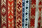 Belarusian sashes with a classic geometric pattern — Stock Photo