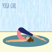 Beautiful young girl practicing yoga in the gym — Stock Vector