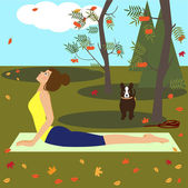 Yoga girl in autumn park — Stock Vector