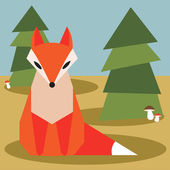 Fox in the forest — Stock Vector