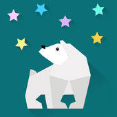 White geometric polar bear and stars in trendy flat style with long shadows for use in design — Stock vektor
