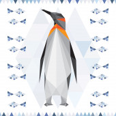 Polygonal penguin background for use in design for card, invitation, poster, banner, placard or billboard cover — Stock vektor