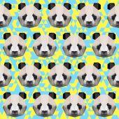 Polygonal panda pattern background — Stock Vector