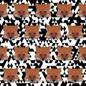 Veelhoekige fox naadloze patroon achtergrond — Stockvector