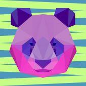 Bright colored polygonal panda background — Stock Vector