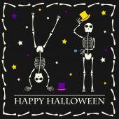 Halloween vector background with skeletons — Stock Vector