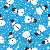 Vector pattern background with snowman — Stock Vector