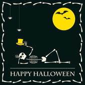 Funny halloween vector background with skeleton — Stock Vector