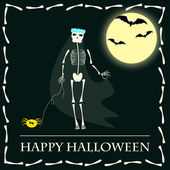 Halloween funny vector background with skeleton bride walking with spider dog — Stock Vector