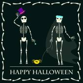 Halloween skeleton and bride with spider dog vector background — Stock Vector
