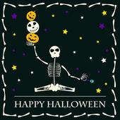 Halloween yoga vector background — Stock Vector