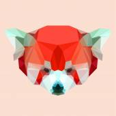 Bright polygonal abstract geometric red panda background — Stock Vector