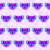 Bright purple polygonal koala pattern background — Stock Vector