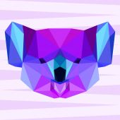 Bright purple polygonal koala background — Stock Vector