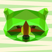 Bright green colored polygonal abstract geometric raccoon background for use in design for card, invitation, poster, banner, placard or billboard cover — Stock Vector