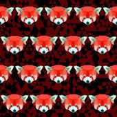 Bright polygonal red panda pattern background — Stock Vector