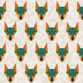 Bright colored abstract doberman polygonal seamless pattern — Stock Vector