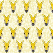 Yellow colored abstract polygonal kangaroo pattern — Stock Vector