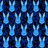 Abstract blue colored polygonal rabbit pattern — Stock Vector