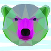 Mixed colored polygonal white bear for use in design for card, invitation, poster, banner, placard or billboard cover — Stock Vector
