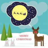 Winter christmas card with funny deer and rabbits — Stock Vector