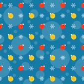 Holiday bright colored pattern background with bright red and yellow Christmas balls and snowflakes on blue cover — Stock Vector