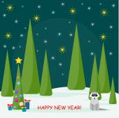 Funny winter holiday card with cute raccoon and spruse with glass balls and gifts in the night forest — Stock Vector