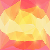 Abstract pink and yellow bright colored vector triangular polygonal background with glaring lights — Stock Vector