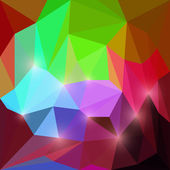 Abstract bright motley rainbow colored vector triangular geometric polygonal background with glaring lights — Stock Vector