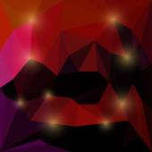 Abstract deep red and cherry colored vector triangular geometric background with bright glaring lights — Stock Vector