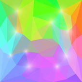 Abstract bright rainbow motley colored vector triangular geometric polygonal background with bright lights — Stock Vector