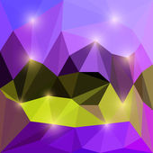 Abstract bright yellow and purple colored vector triangular geometric polygonal background with glaring lights — Stock Vector