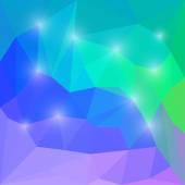 Abstract vivid rainbow colored vector triangular geometric polygonal background with bright glaring lights — Stock Vector