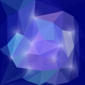Abstract blue and purple colored vector triangular polygonal background with glaring lights — Stock Vector