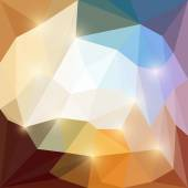 Abstract beige, brown, orange and bluebright colored vector triangular geometric polygonal background with glaring lights — Stock Vector