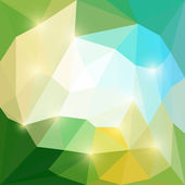 Abstract green, yellow and blue moyley colored vector triangular geometric polygonal background with glaring lights — Stock Vector