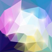 Abstract different colored vector triangular geometric background with bright glaring lights — Stock Vector
