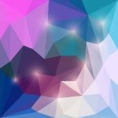 Abstract bright mixed colored vector triangular geometric background with soft pink glaring lights — Stock Vector