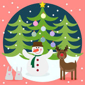Winter christmas card with funny deer, snowman, rabbits and fir with glass holiday balls — Stock Vector