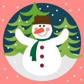 Funny vector winter holidays card background with snowman, fir and snowflakes — Stock Vector