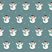 Winter holiday pattern background with funny snowman — Stock Vector