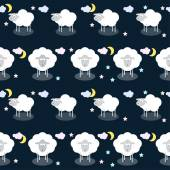 Funny vector pattern background with clouds, stars and cute sheep in open space — Stock Vector