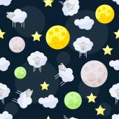 Funny vector pattern background with clouds, stars, bright planets and cute sheep on the dark cover in open space — Stock Vector