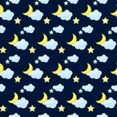 Vector pattern background with bright colored cartoon moon, clouds and stars on the dark cover — Stock Vector