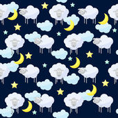 Funny vector pattern background with clouds, stars, moon and cute sheep, the symbol of the new year of the sheep on the dark cover — Stock Vector
