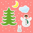 Funny cartoon winter holidays background with drawing snowflakes, snowman, moon, cloud and cute rabbit on bright cover — Stock Vector #56839929