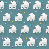 Vector pattern background with  white bear and stars — Stockvector