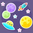 Vector space cover with colorful planets, pink and blue stars, ufo and spaceship on purple open space background — Stock Vector #57095245