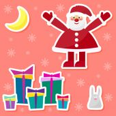 Funny cartoon winter holidays set with cute Santa Claus,rabbit, moon and gifts on the red background — Stock Vector