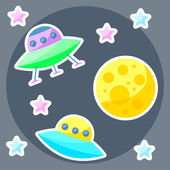 Vector space cover with colorful planet, pink and blue stars and ufo — Stock Vector